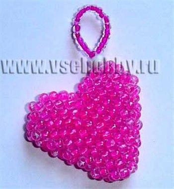 Объёмное сердечко из бисера