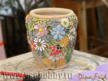 Мозаичный цветочный горшок Лето своими руками